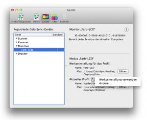 Colosync ICC Monitor-Profil laden 10.7 Lion