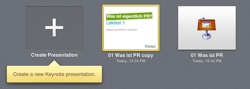 iwork beta icloud keynote Dokument anlegen hochladen